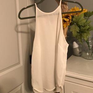 White tight neck tank top